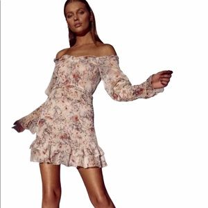 SNDYS Cream Fitted Floral Dress.
